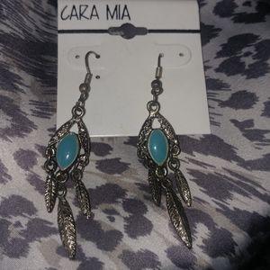 🆕Cara mia dangle turqoise earrings feather